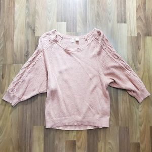 Moth Anthropologie Dolman Pom Pink Sweater